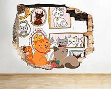 Sticker da muro - 3D- Gatti Ritratti di famiglia