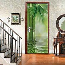 Sticker Da Muro Bambù 3D Porta Adesivo Murale