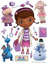 sticker murale Dottoressa Peluche viola, rosa e