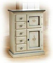 stipo 2 porte 5 cassetti bianco con decorazioni