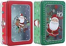 STOBOK Scatole per Biscotti in Latta di Natale 2