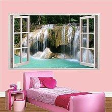 Stream Waterfall Blue Lake 3D Window Wall Sticker