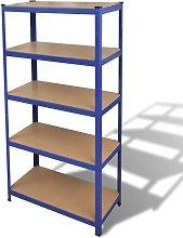 Struttura per Garage con Scaffali Blu - Blu -