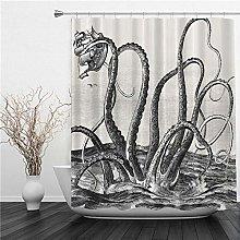 SUHETI Tende Doccia Tessuto,Giant Squid Sea