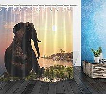 Sunrise Lakeside Paesaggio Elefante HD stampa,