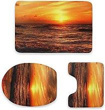 Sunset Beach - Set di 3 tappetini da bagno,