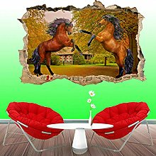 Superbo marrone cavalli da corsa adesivo da parete