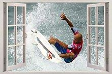 Surf 3d vetrofania adesivo da parete decorazione