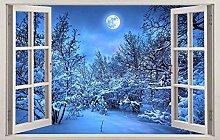 SYYUN Adesivi murali neve albero 3d vetrofania