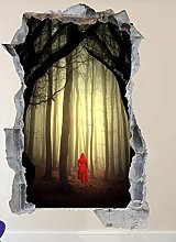 SYYUN Adesivi murali Red Riding Hat 3D Art Poster