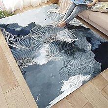 Tapetto Tappeto Grigio Blu White Waves Pattern