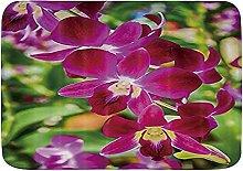 Tappetini da bagno da bagno, orchidee e foglie di