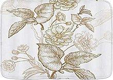 Tappetini da bagno, fiori vintage dipinti a mano,