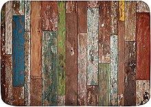 Tappetini da bagno, fondo in legno rustico,
