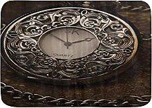 Tappetini da bagno, orologio vintage in pietra