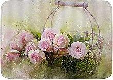 Tappetini da bagno per il bagno, rosa rosa fiore