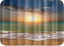 Tappetini da bagno, sole da spiaggia blu giallo,