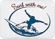 Tappetini da bagno, Surf with Me Quote con Surfing