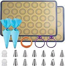 Tappetini da Forno in Silicone Macarons, Set da 21