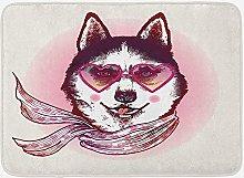 Tappetino da bagno cartone animato, cane hipster