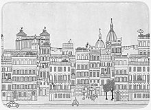 Tappetino da bagno città, disegno schematico