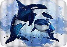 Tappetino da bagno durevole, orche assassine,