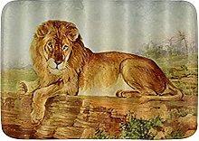 Tappetino da bagno durevole, pittura con leone,