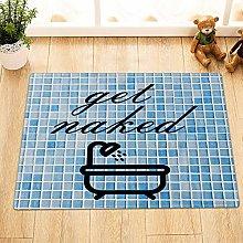 Tappetino da bagno in piastrelle blu e bianco,