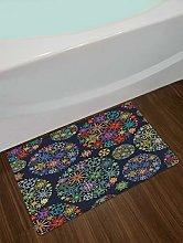 Tappetino da bagno in tessuto con motivo floreale,
