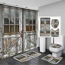 Tappetino Da Bagno Set 4 Pezzi, 3D Vecchia Porta