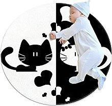 Tappetino tondo Amore gatto nero bianco Tappeto