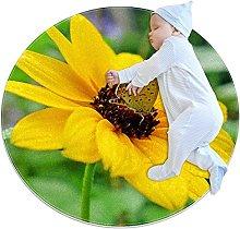 Tappetino tondo farfalle fiori gialli Tappeto