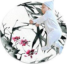 Tappetino tondo Fiore di foglie di bambù Tappeto