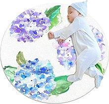 Tappetino tondo Fiori viola e blu Tappeto rotondo