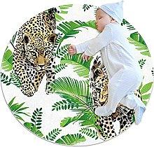 Tappetino tondo Leopardo Foglia Verde Tappeto