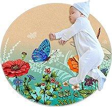 Tappetino tondo Libellule Farfalle Fiori Tappeto