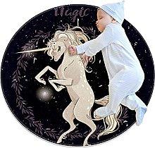 Tappetino tondo Unicorno di fantasia Tappeto