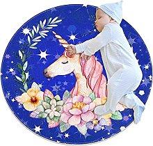 Tappetino tondo unicorno fiore blu Tappeto rotondo
