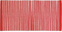 Tappeto 100% Cotone Da 50x80 Cm Color Rosso Per