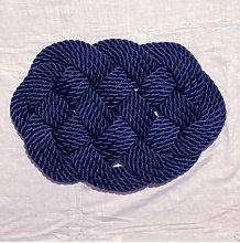 Tappeto artigianale in corda di gherlino blu 56x35