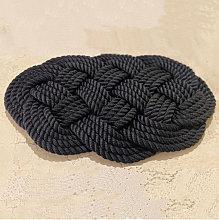 Tappeto artigianale in corda di gherlino nero