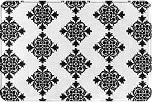 Tappeto bagno porta Royal Blooms nero bianco