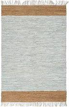 Tappeto Chindi Artigianale Pelle 80x160cm Grigio