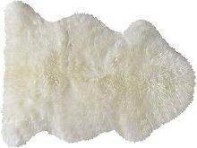 Tappeto color avorio in pelle di pecora 55 x 90 cm