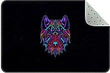 Tappeto colorato digitale Wolf, zerbini per