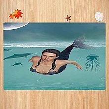 Tappeto da bagno antiscivolo 40X60cm,Mermaid