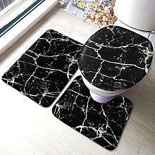Tappeto da bagno antiscivolo in marmo nero, 3 pezzi