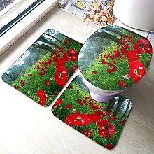 Tappeto da bagno antiscivolo, motivo floreale, 3