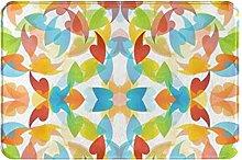 Tappeto da bagno metà secolo arcobaleno foglie
