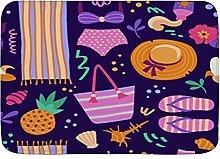 Tappeto da bagno, motivo colorato in stile cartoni